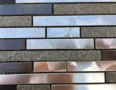 Mosaico inox strip black stone